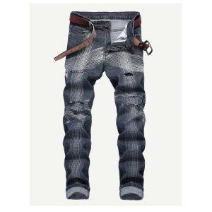 Men Geometric Print Ripped Jeans -0