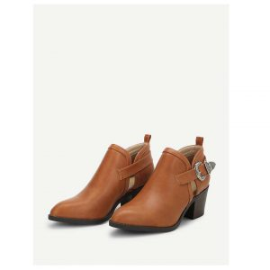 Side Buckle Pointed Toe Heeled Boots-0