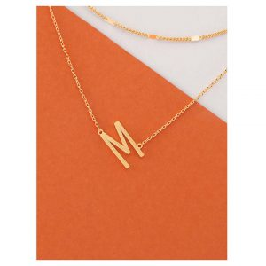 Dainty Layer Gold Chain Letter M Pendant Necklace -0