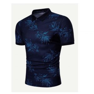 Men Leaf Print Polo Shirt -0