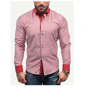 Men Single Breasted Striped Shirt -0