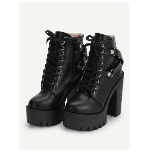 Lace-Up Platform Heels -0