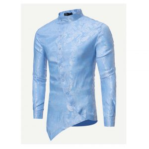 Men Jacquard Asymmetric Hem Shirt-0