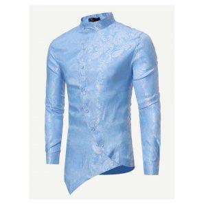 Men Jacquard Asymmetric Hem Shirt-0