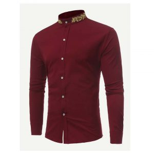 Men Wheat Ears Embroidery Shirt -0