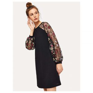 SHEIN Flower Embroidered Mesh Contrast Dress -0