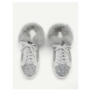 Faux Fur Decor Glitter Sneakers -0