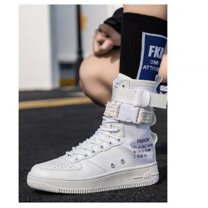 Men Slogan Print Lace Up High Top Sneakers-0
