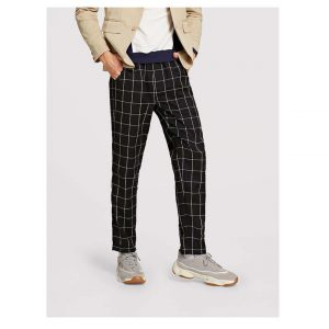 SHEIN Men Slant Pocket Grid Print Pants -0