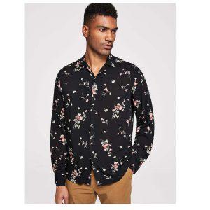 SHEIN Men Botanical Print Buttoned Shirt -0