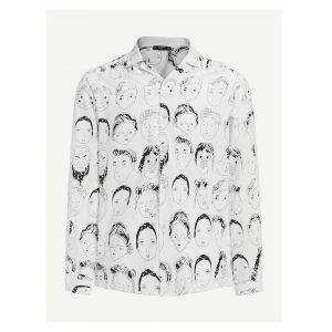 SHEIN Men Allover Face Print Shirt -0