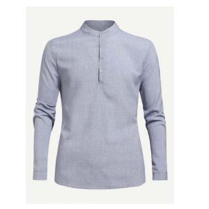 Men Half Placket Plain Shirt-0