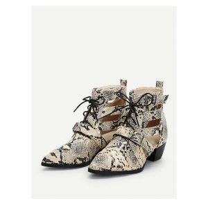 Snakeskin Print Lace Up Ankle Boots -0