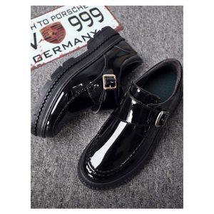 Men Buckle Decor Patent Shoes -0