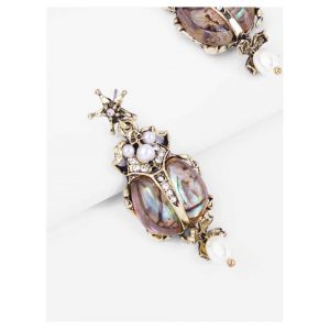Rhinestone Engraved Insect Shaped Drop Earrings -0