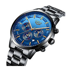Men's Fashion Casual Quartz Watch Business Watches Men Stainless Steel Chronograph Wristwatch CJ-2214BU -0