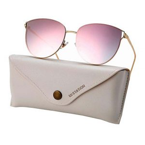 Oversized Sunglasses for Women, Mirrored Cat Eye Sunglasses with Rimless -0