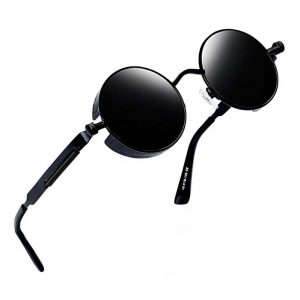 Joopin-Round Retro Polaroid Sunglasses Driving Polarized Glasses Men Steampunk -0