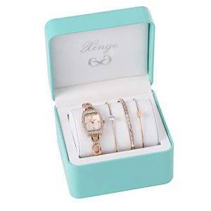Xinge Women's Rose Gold-Tone Square Analog Quartz Bangle Watch and Bracelet Set XG592R/225458 -0