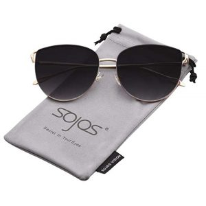 SOJOS Mirrored Flat Lens Fashion Sunglasses for Women-0