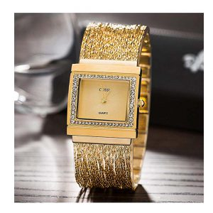Ladies Square Crystal Bracelet Dress Wrist Watch for Women - Female Gold, Rose Gold, Silver -0