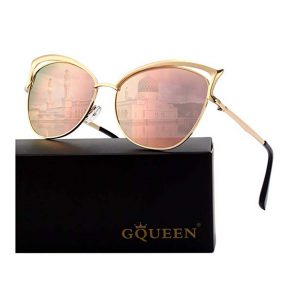 GQUEEN Women's Oversized Polarized Metal Frame Mirrored Cat Eye Sunglasses-0