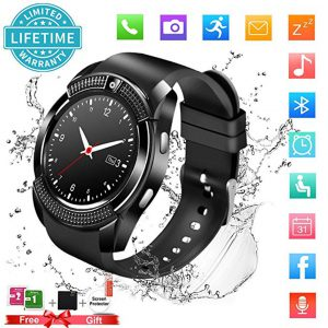 Smart Watch,Bluetooth Smartwatch Touch Screen Wrist Watch with Camera/SIM Card Slot,Waterproof Phone Smart Watch Sports Fitness Tracker for Android iPhone IOS Phones Samsung for Men Women Kids Black -0
