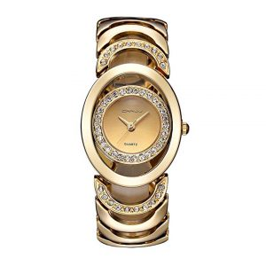 Luxury Womens Rhinestone Quartz Watches Stainless Steel Waterproof Bracelet Wristwatch -0