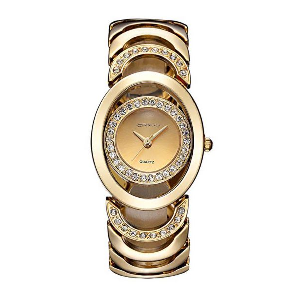 Luxury Womens Rhinestone Quartz Watches Stainless Steel Waterproof Bracelet Wristwatch -0