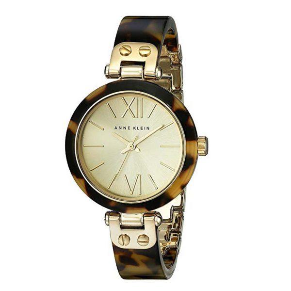 Anne Klein Women's 109652CHTO Gold-Tone Tortoise Shell Plastic Bracelet Watch-0