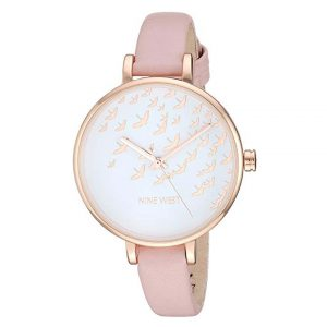 Nine West Women's NW/2134RGPK Rose Gold-Tone and Pink Strap Watch -0