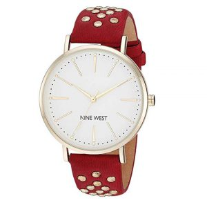 Nine West Women's NW/2200 Studded Strap Watch -0