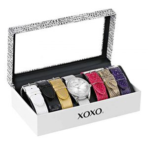 XOXO Women's XO9062 Silver-Tone Watch with Interchangeable Bands -0