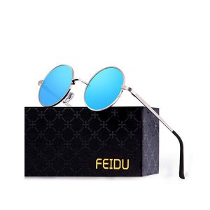 FEIDU Retro Polarized Round Sunglasses for Men Vintage Sunglasses Women FD3013 Blue-0