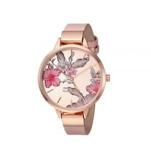 Nine West Floral Rose Goldtone Watch-0