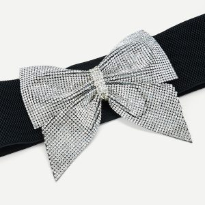 Rhinestone Bow Buckle Belt -0