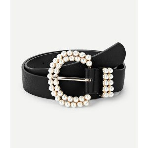 Faux Pearl Decorated Buckle Belt -0