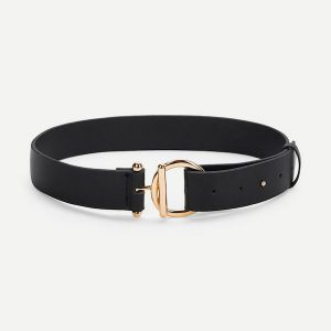 Metal Round Buckle Solid Belt -0